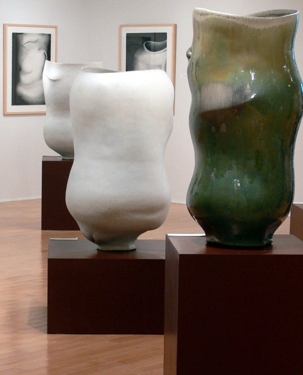 [ Installation of Chris Gustin's Large Scale Ceramic Vessels and Drawings ]