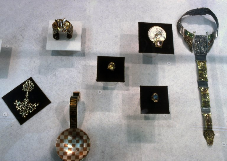 Exhibition displays of metalwork and jewelry