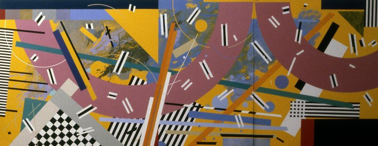 A collection of geometric and abstract paintings and drawings held at Swain School of Design.