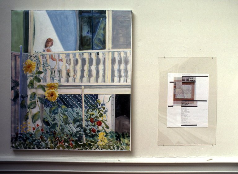 Left is Nick Kilmer's painting and right is Tom Corey's mix media work.