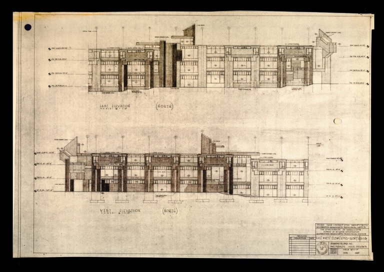 "[Project E 61-4, Group 1 Building, East & West Elevations North, A-16, 1/8'=1'-0"", LARTS Building]"