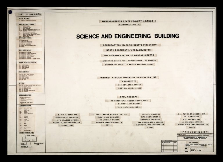 State Project SM 83-1, Preliminary Title Sheet for the Science and Engineering Building