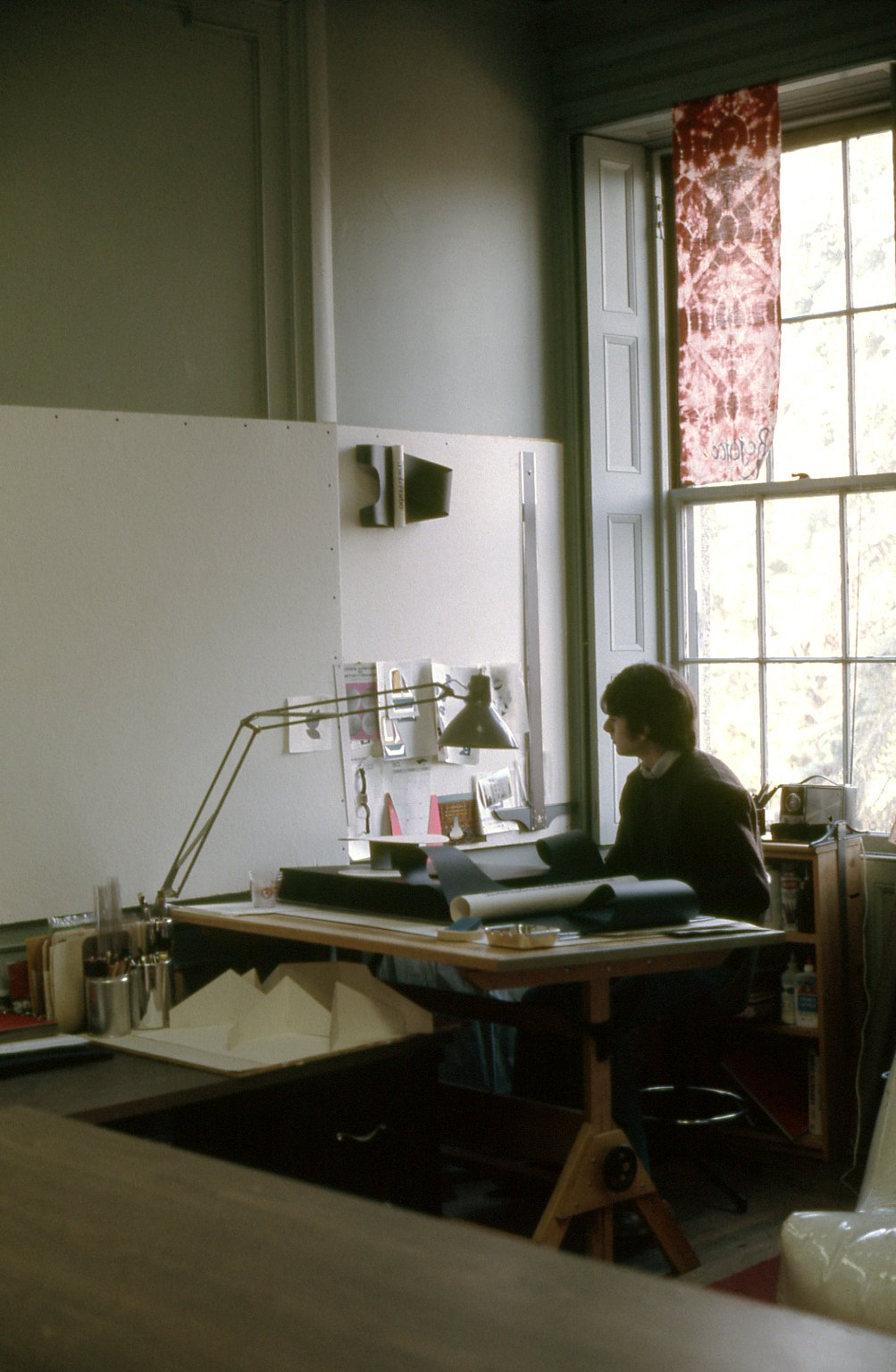 A collection of photographs documenting students in art classes, studios and working on art projects in a variety of mediums including painting, drawing, wood cut, sculpture, illustration, color charts, design and mixed media at Swain School of Design, New Bedford, Massachusetts. Many images include interior view of the sschool.