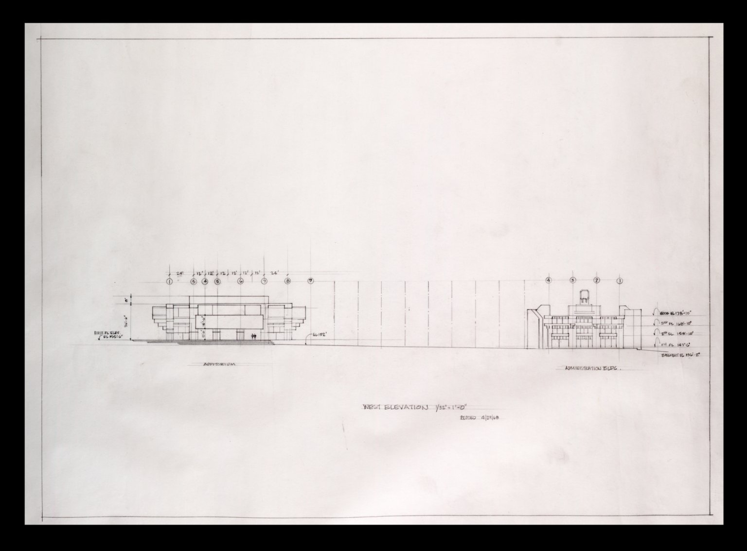 "Auditorium and Administrative Buildings West Elevations , 1/32""=1'0"""
